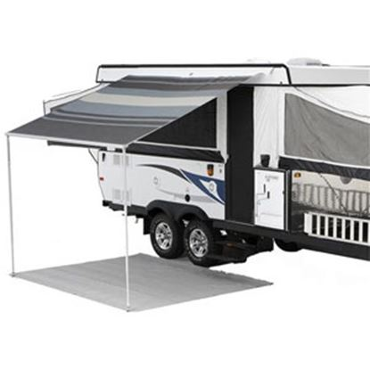 """Picture of Carefree Campout Ocean Blue Vinyl 8' 5""""L X 6' 6""""Ext Adj Pitch Manual Bag Awning 981018E00 00-1022"""