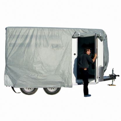 "Picture of ADCO SFS AquaShed (R) Gray Fabric/Poly Cover For 10' 1""-12' Bumper Pull Horse Trailers 46002 01-3431"