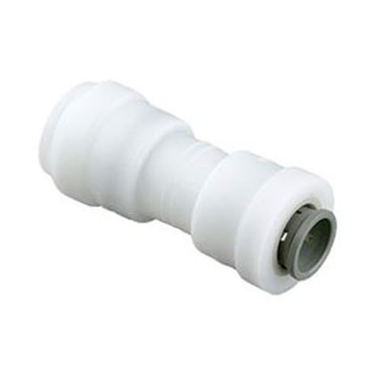 "Picture of Sea Tech 24 Series 1/2"" Female QC Copper Tube x 3/8"" Female QC Copper Tube White Plastic Fresh 012416-1008 10-0306"