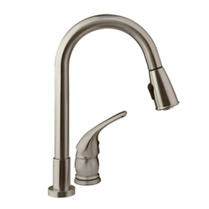 Picture of Dura Faucet  Nickel w/Single Lever Kitchen Faucet w/Pull-Down Spout DF-NMK503-SN 10-1287