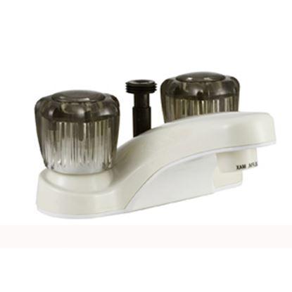 """Picture of Dura Faucet  Bisque Parchment w/Smoke Knobs 4"""" Lavatory Faucet DF-PL720S-BQ 10-1321"""