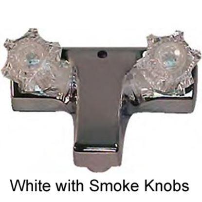 """Picture of Utopia  White w/2 Smoked Knob 4"""" Lavatory Faucet 20377RW21 10-1427"""