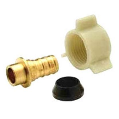 """Picture of QEST XL Brass 1/2"""" Hose Barb x 1/2"""" FPT Swivel Plastic Nut Brass Fresh Water Straight Fitting  14-2364"""