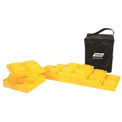 "Picture of Camco  10-Pk 8.25""x8.25""x1"" Plastic Interlocking Levelling Blocks w/Storage Bag 44505 15-0466"