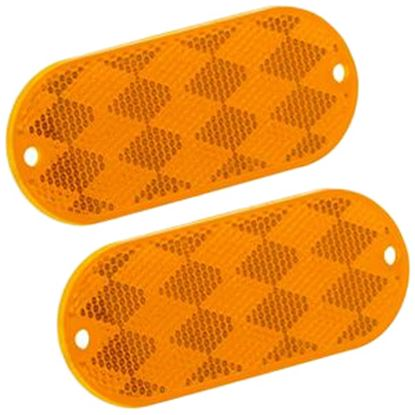 "Picture of Bargman  2-Pack 3-1/4""x1-1/2"" Rectangular Amber Stick-On/Screw Mount Reflector 71-78-020 18-0076"