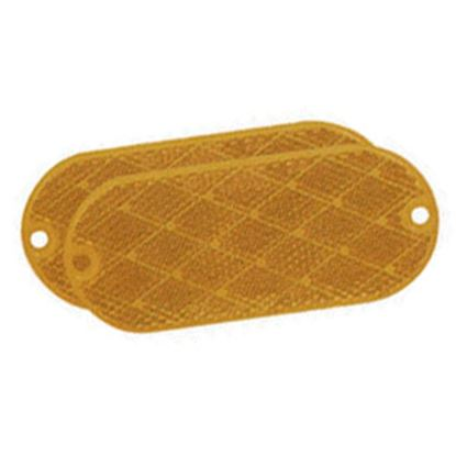 """Picture of Bargman  2-Pack 4-3/8""""x1-7/8"""" Oblong Amber Stick-On/Screw Mount Reflector 74-78-020 18-0391"""