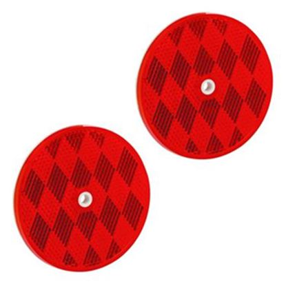 """Picture of Bargman  2-Pack 3-3/16"""" Round Red Screw Mount Reflector 74-68-010 18-0397"""