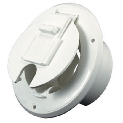 """Picture of JR Products  Colonial White 2-27/32""""RO Round Electrical Hatch Access Door S-23-14-A 19-0200"""