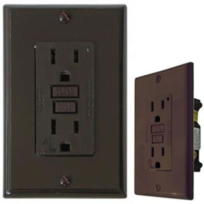 Picture of Diamond Group  Brown 120V/ 15A Indoor/ Outdoor GFI Receptacle DG15BVP 19-1346