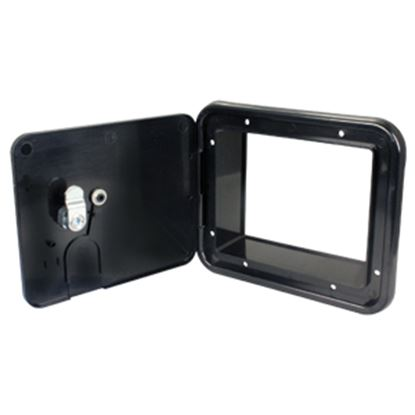 """Picture of JR Products  Black 5-7/8""""RO Lockable Cable Hatch Access Door w/Key Lock E7133-A 19-1621"""