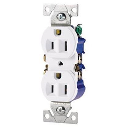 Picture of Cooper Wire  White 125VAC 15A Duplex Receptacle 270W 19-3815