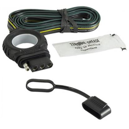 """Picture of Hopkins  48"""" 4-Wire Flat Trailer End Wiring Connector w/ Dust Cap 48044 19-4189"""