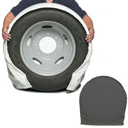 "Picture of CoverCraft SnapRing TireSavers Set of 2 Black Vinyl 24""-26"" DiaTire Covers ST7000BK 46-0059"