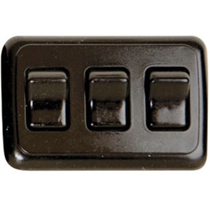 Picture of Diamond Group  Black 125V/ 16A SPST Triple Rocker Switch For On/ Off Appliances DG3315VP 69-8821