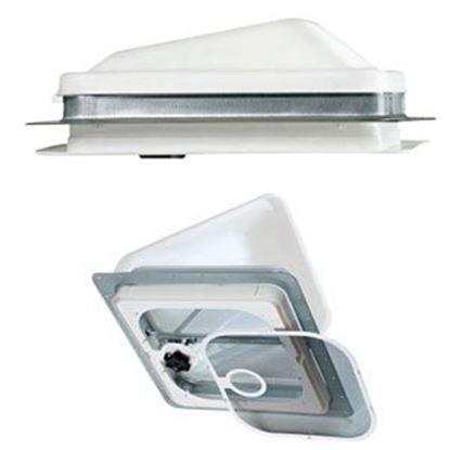 """Picture of Ventline  White 14.25""""x14.25"""" Polypropylene Frame Roof Vent w/Fan V2094SP-28 71-0020"""