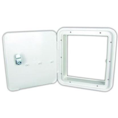 "Picture of JR Products  Polar 6-7/8""RO White Lockable Multi-Purpose Hatch Access Door w/o Back 21102-A 92-9867"